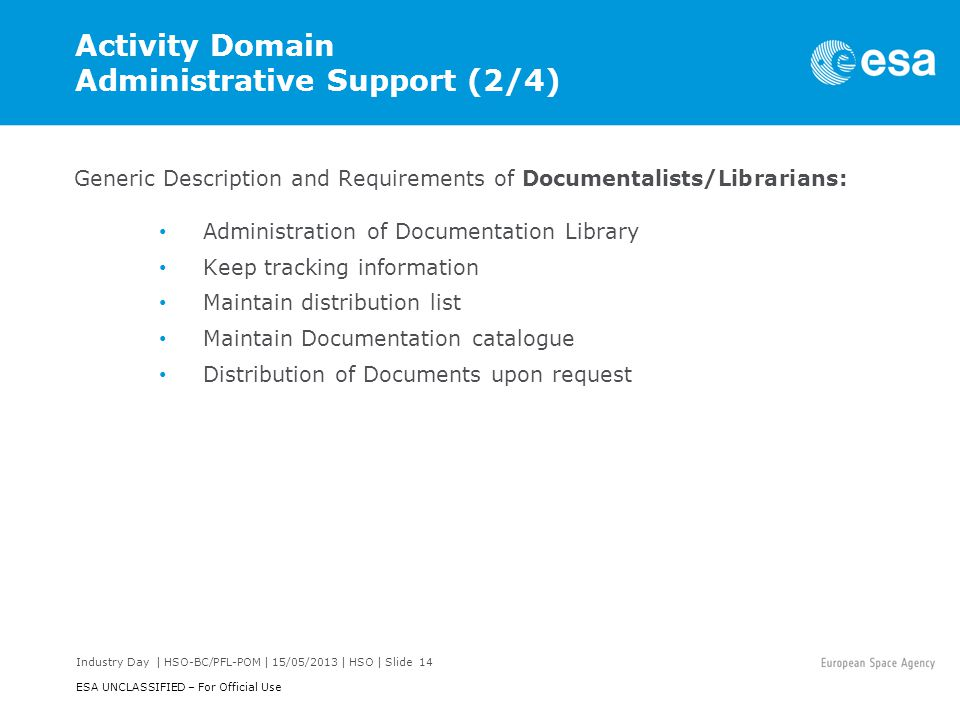 Activity Domain Administrative Support (2/4)