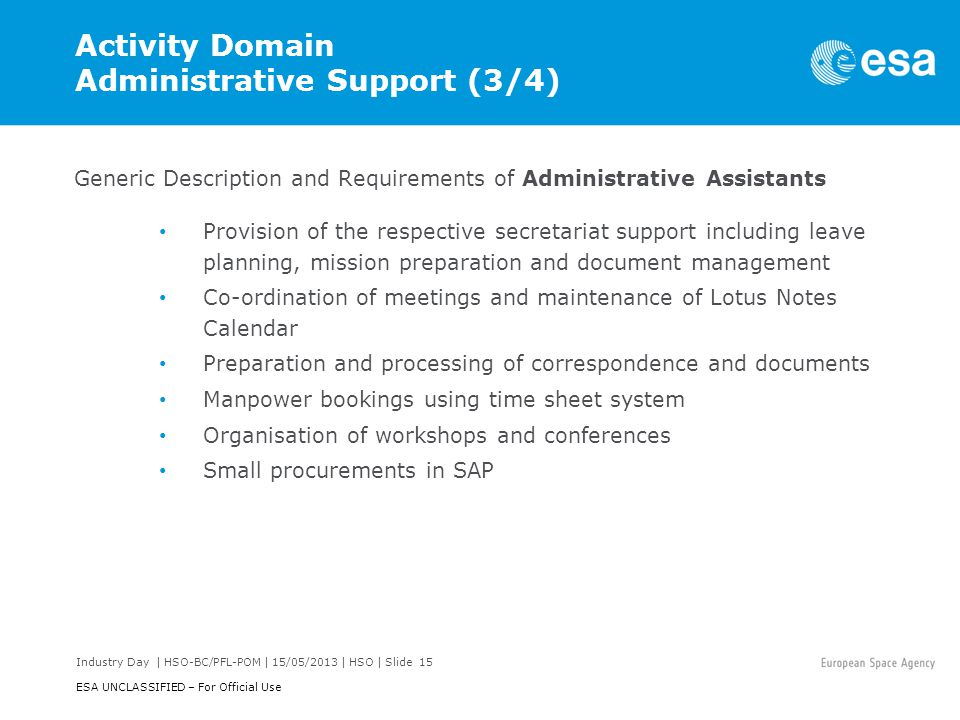 Activity Domain Administrative Support (3/4)