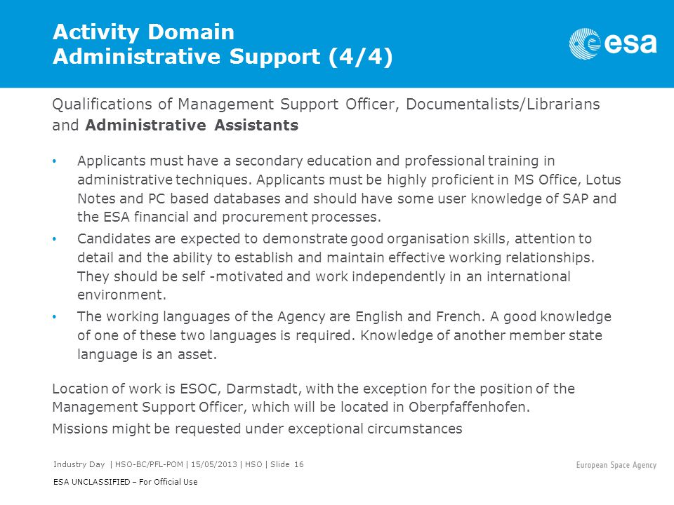 Activity Domain Administrative Support (4/4)