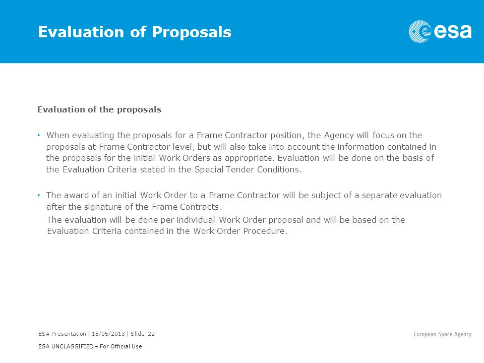 Evaluation of Proposals