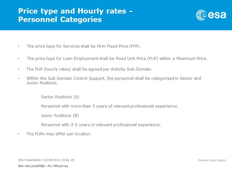Price type and Hourly rates - Personnel Categories