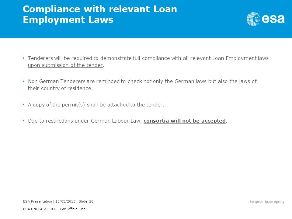 Compliance with relevant Loan Employment Laws