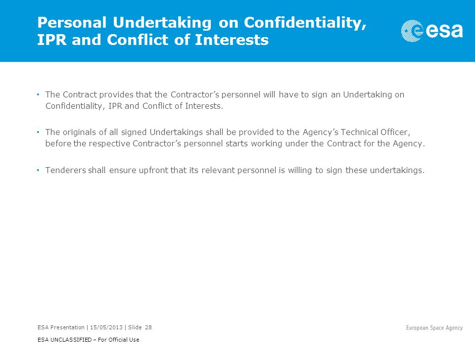Personal Undertaking on Confidentiality, IPR and Conflict of Interests