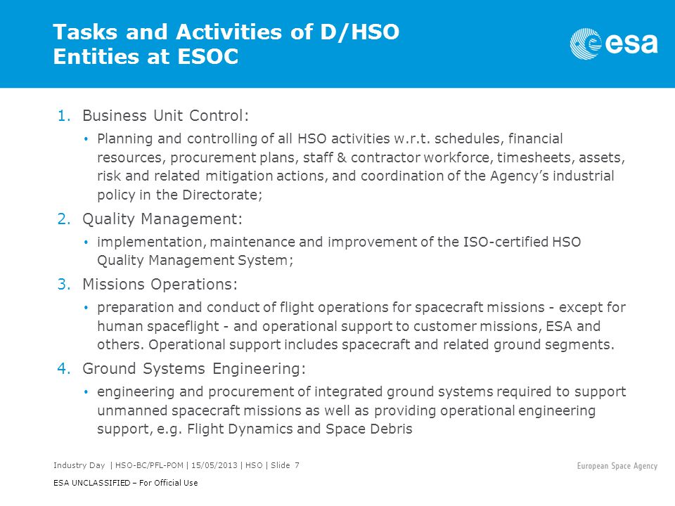 Tasks and Activities of D/HSO Entities at ESOC