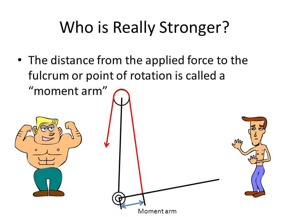 Who is Really Stronger The distance from the applied force to the fulcrum or point of rotation is called a moment arm