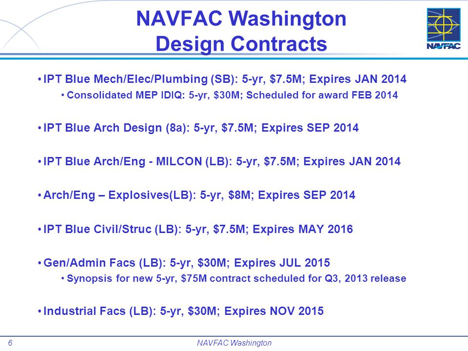 NAVFAC Washington Design Contracts