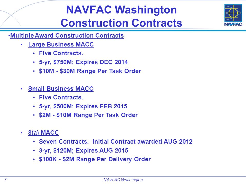 NAVFAC Washington Construction Contracts