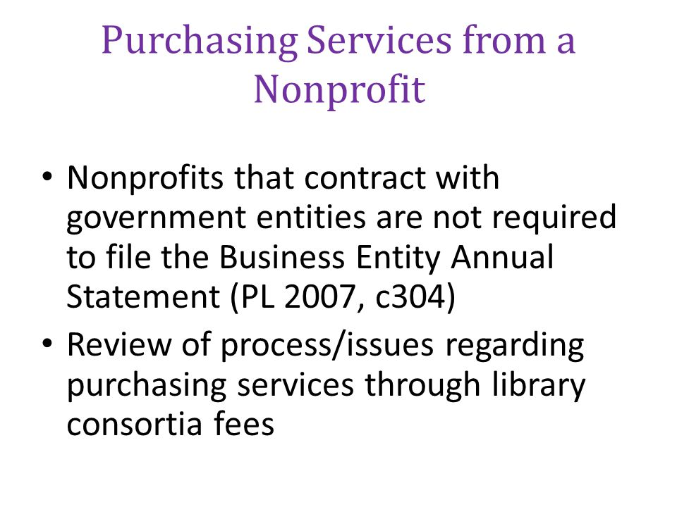 Purchasing Services from a Nonprofit