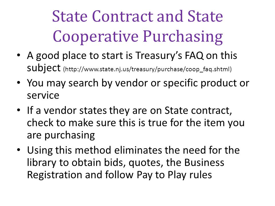 State Contract and State Cooperative Purchasing
