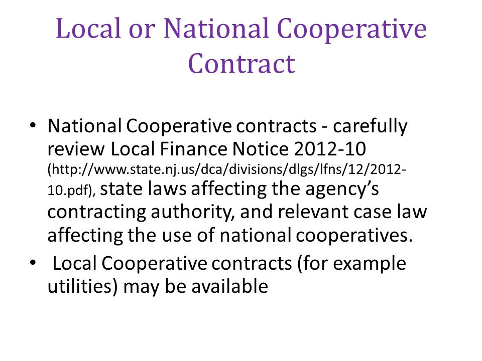 Local or National Cooperative Contract