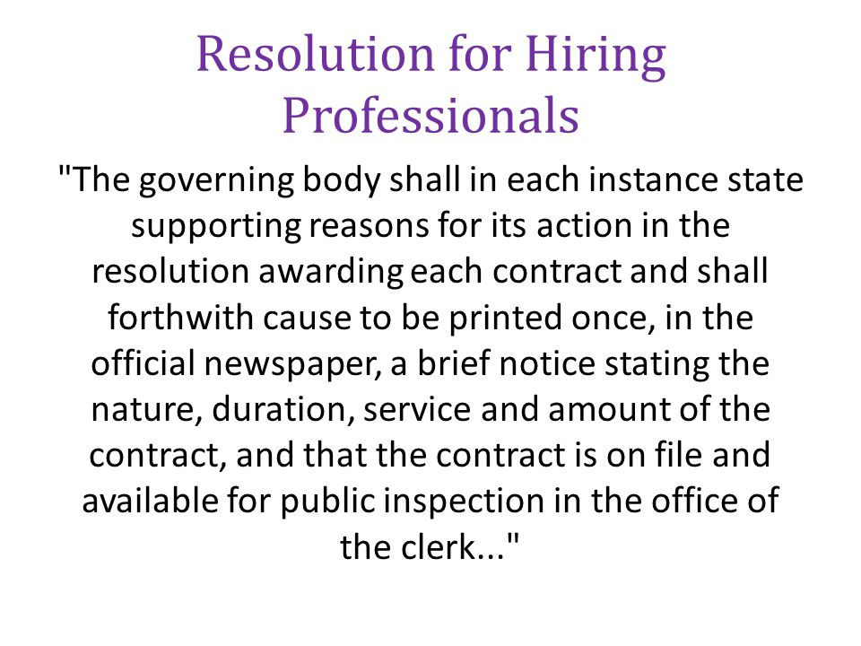 Resolution for Hiring Professionals