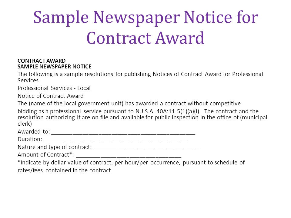 Sample Newspaper Notice for Contract Award
