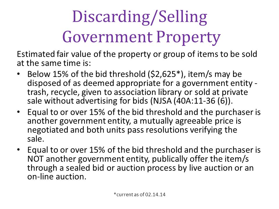 Discarding/Selling Government Property