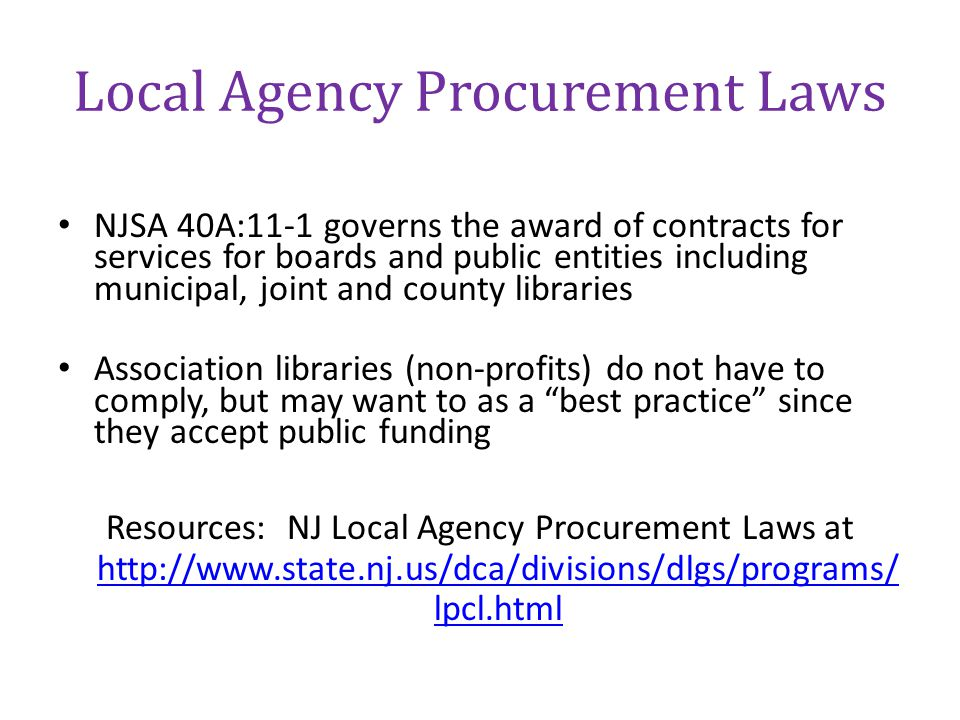 Local Agency Procurement Laws