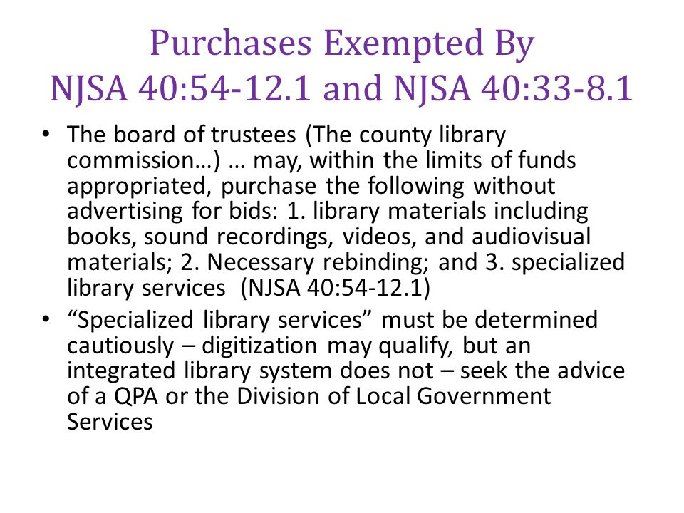 Purchases Exempted By NJSA 40:54-12.1 and NJSA 40:33-8.1