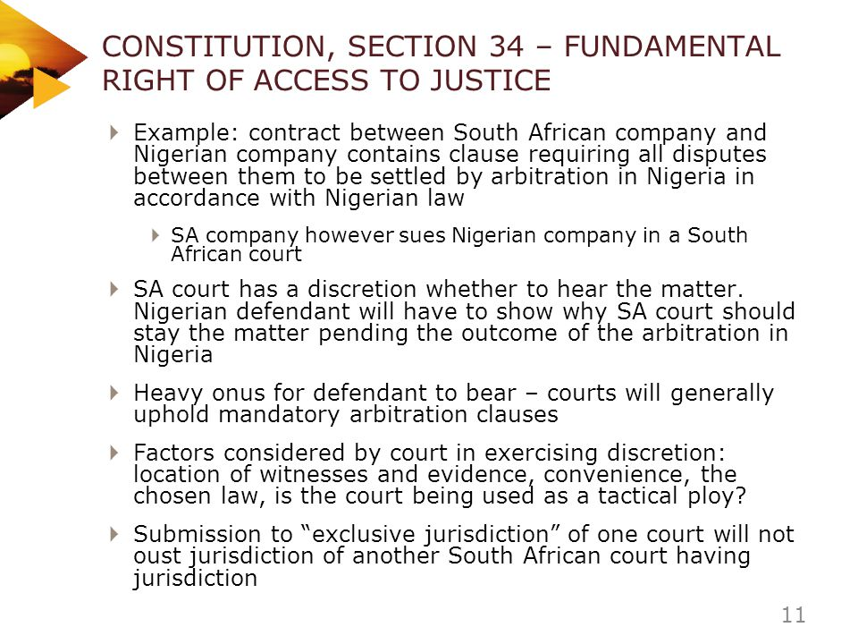 CONSTITUTION, SECTION 34 – FUNDAMENTAL RIGHT OF ACCESS TO JUSTICE
