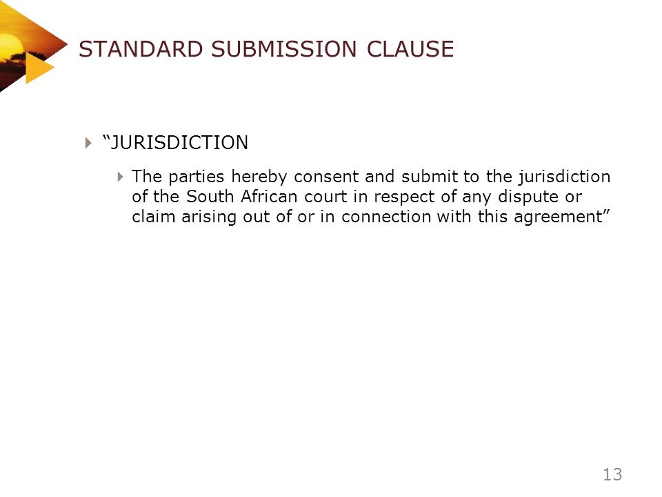 STANDARD SUBMISSION CLAUSE