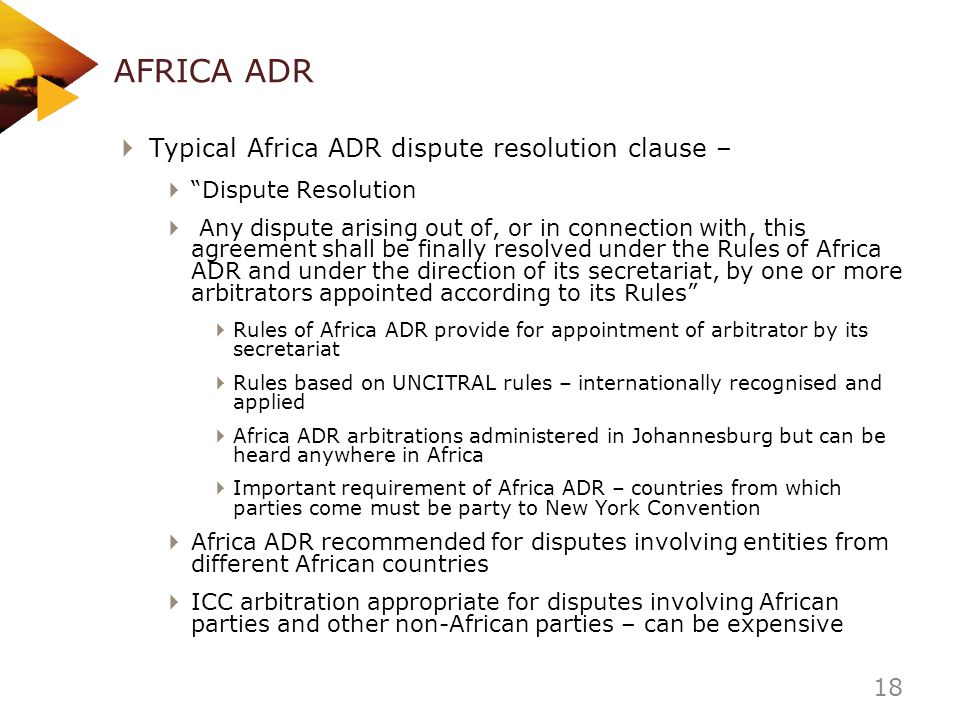 AFRICA ADR Typical Africa ADR dispute resolution clause –
