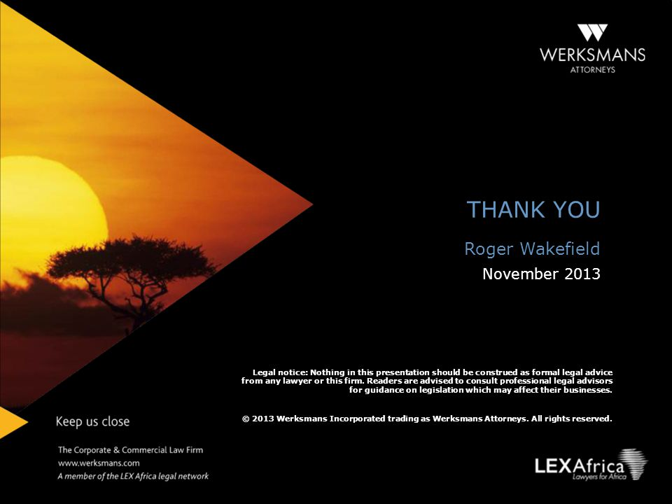 THANK YOU Roger Wakefield November 2013