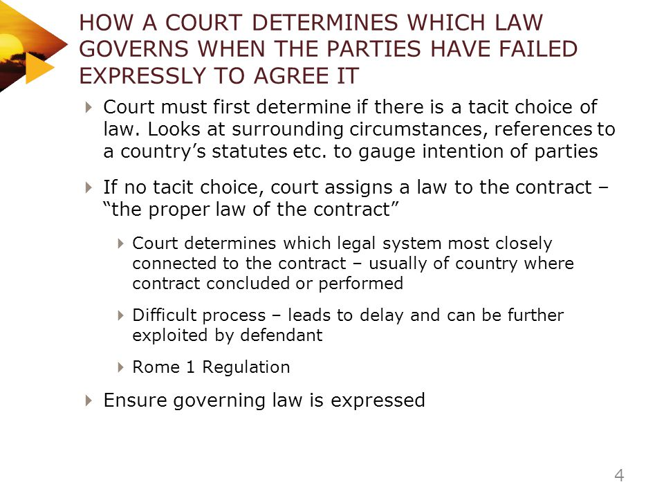HOW A COURT DETERMINES WHICH LAW GOVERNS WHEN THE PARTIES HAVE FAILED EXPRESSLY TO AGREE IT