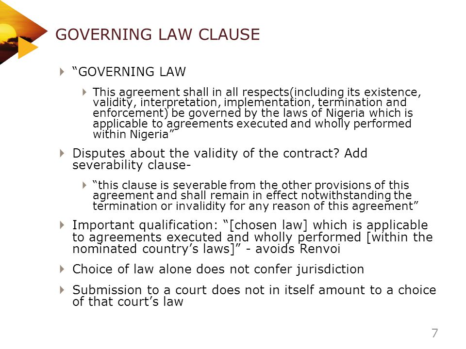 GOVERNING LAW CLAUSE GOVERNING LAW