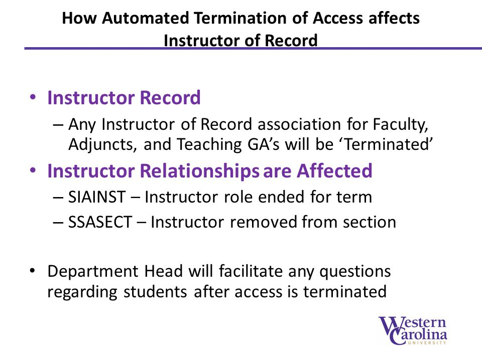 How Automated Termination of Access affects Instructor of Record