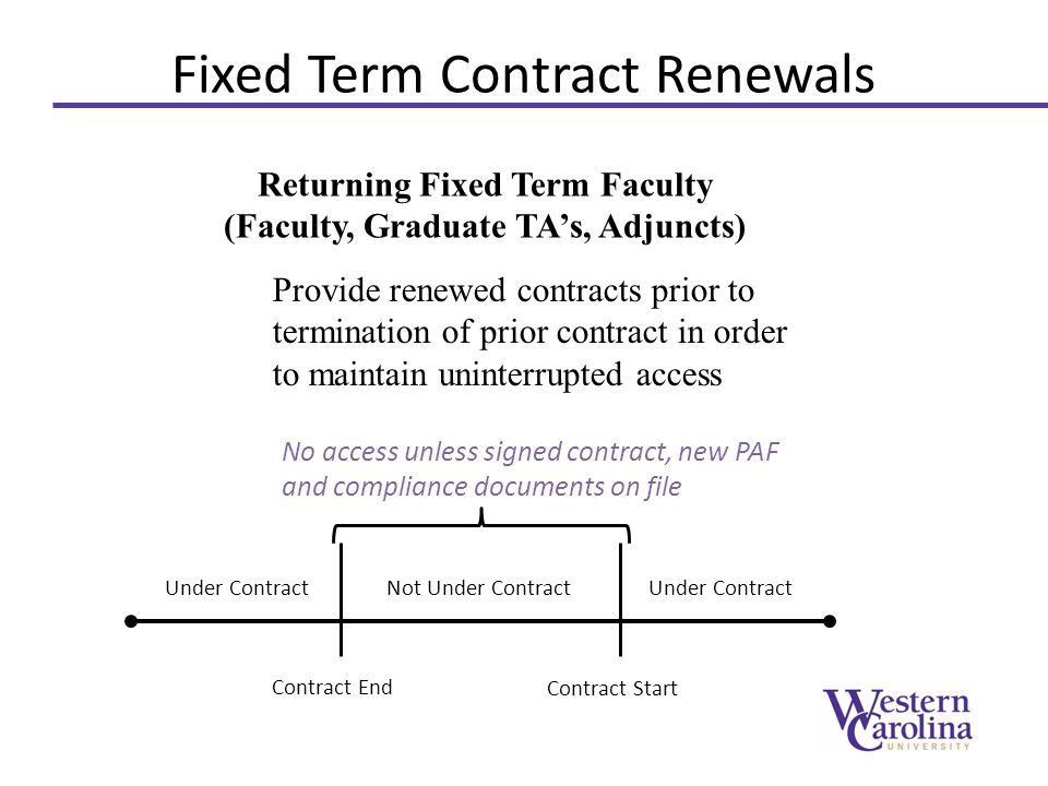 Fixed Term Contract Renewals