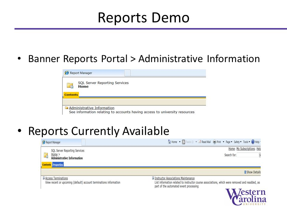 Reports Demo Reports Currently Available