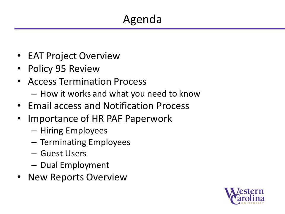 Agenda EAT Project Overview Policy 95 Review