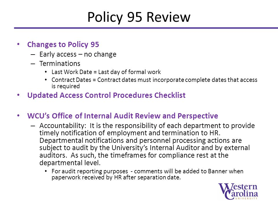 Policy 95 Review Changes to Policy 95