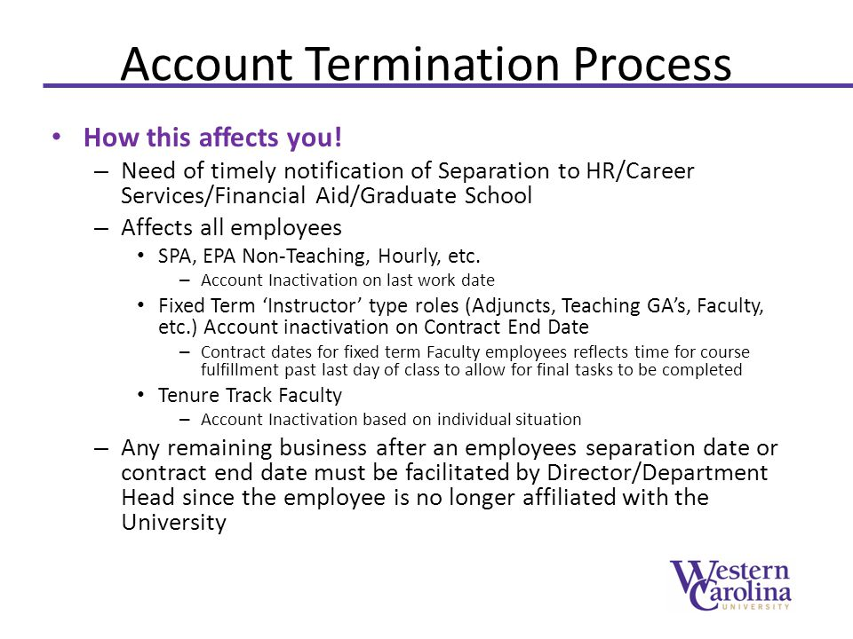 Account Termination Process