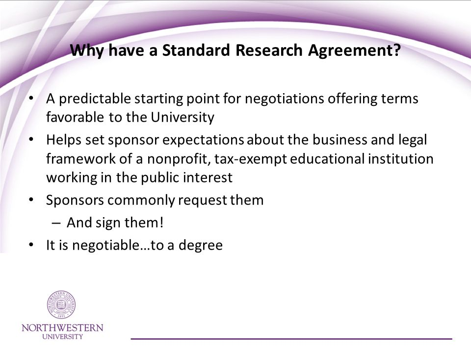 Why have a Standard Research Agreement