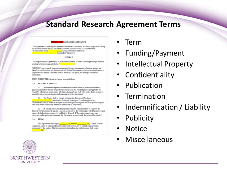 Standard Research Agreement Terms