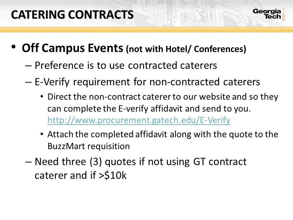 Off Campus Events (not with Hotel/ Conferences)