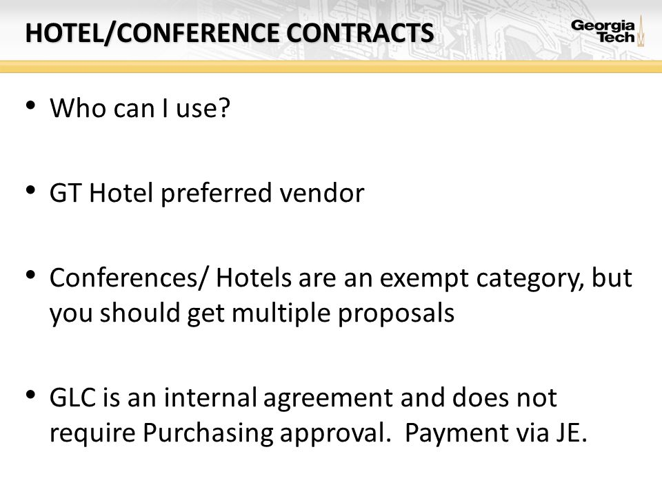 Hotel/conference contracts