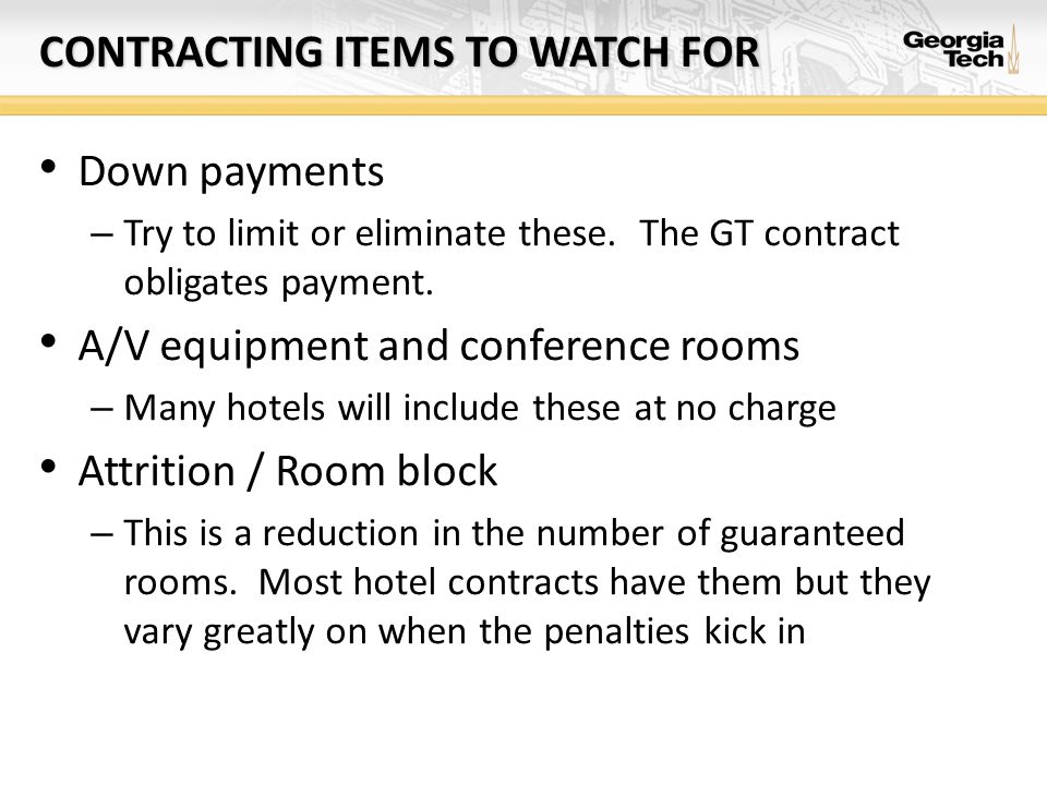 Contracting items to watch for