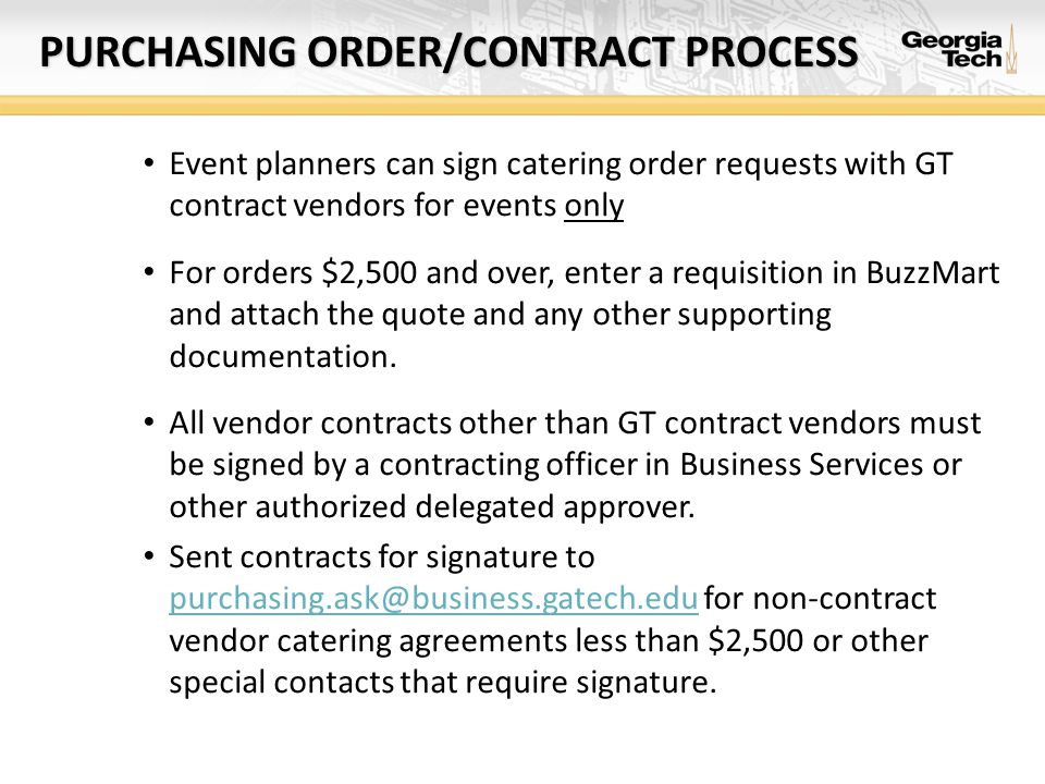PURCHASING ORDER/CONTRACT PROCESS