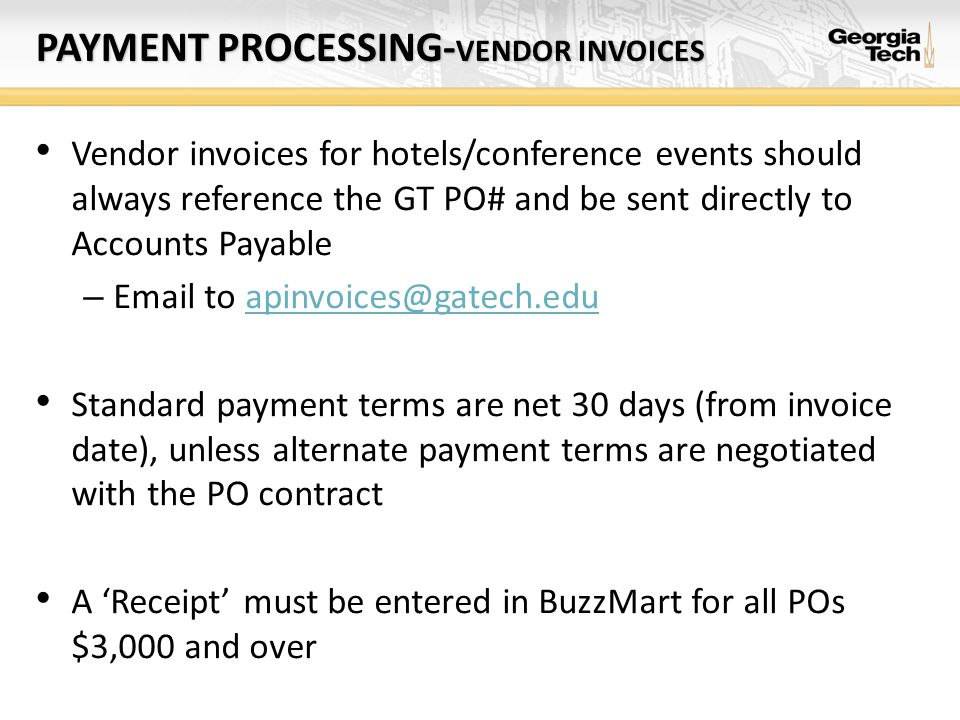 PAYMENT PROCESSING-VENDOR INVOICES