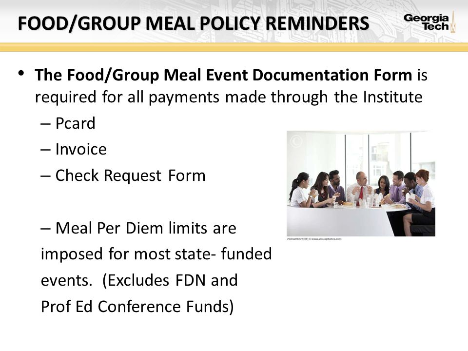 FOOD/GROUP MEAL POLICY REMINDERS