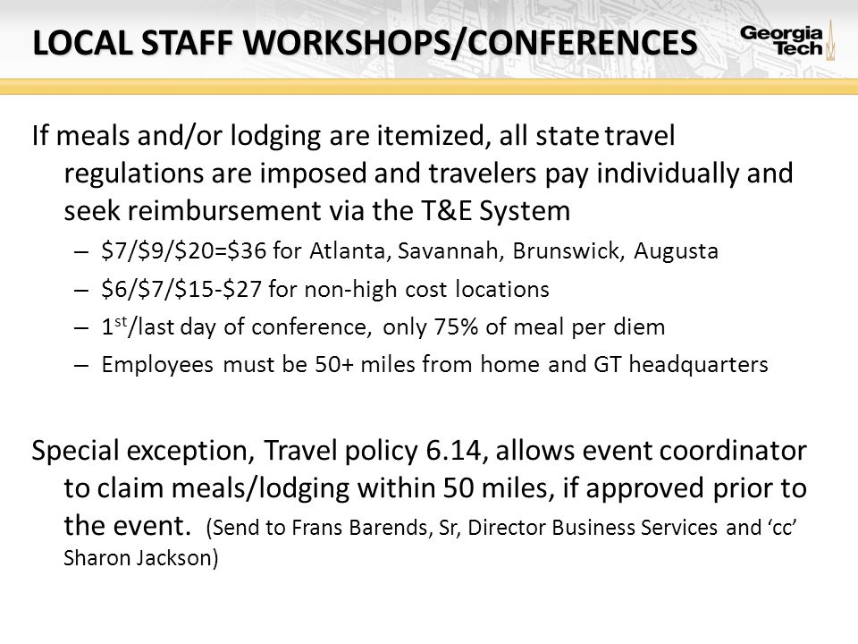 Local staff workshops/conferences