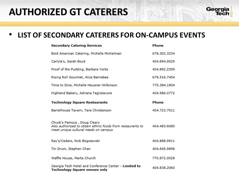 AUTHORIZED GT CATERERS