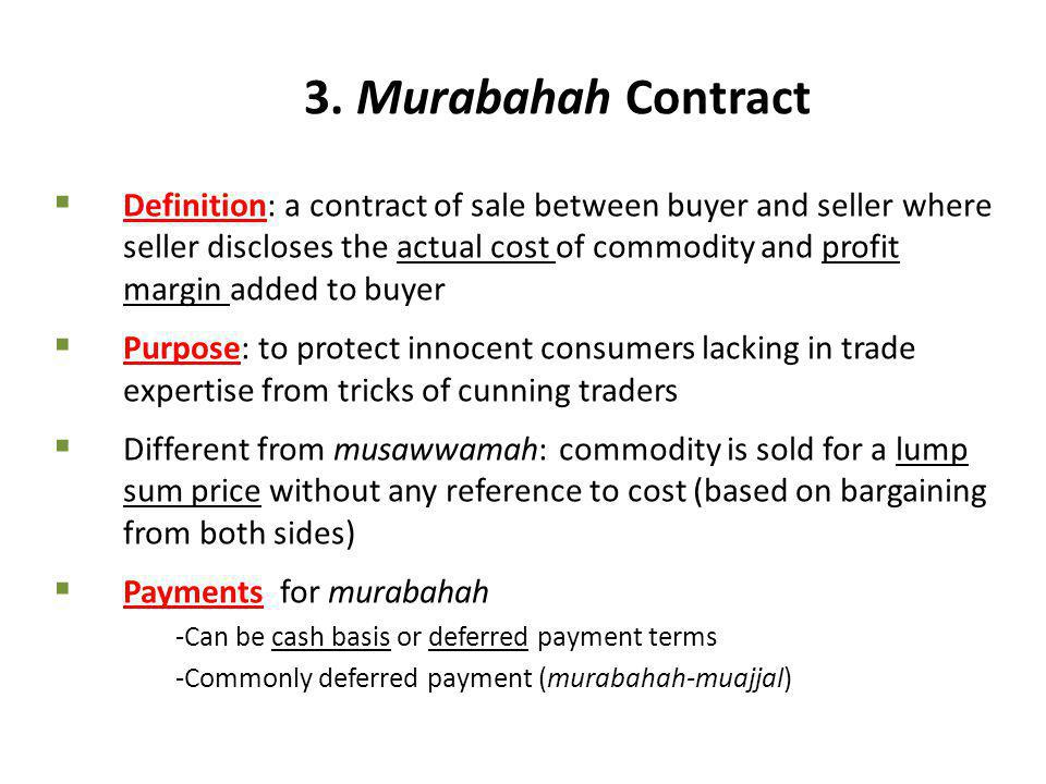 3. Murabahah Contract