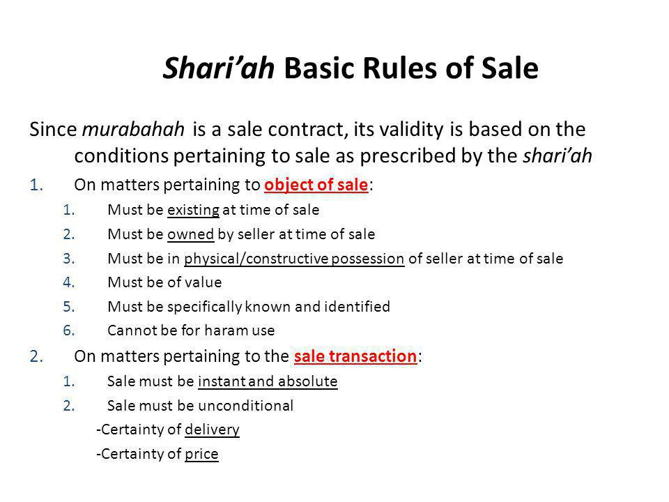 Shari'ah Basic Rules of Sale