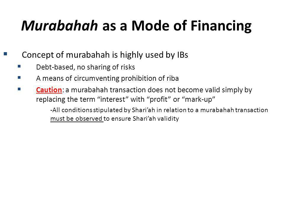 Murabahah as a Mode of Financing