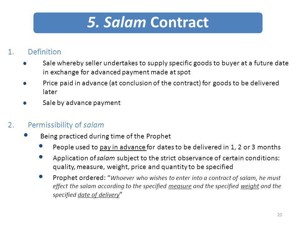 5. Salam Contract Definition Permissibility of salam