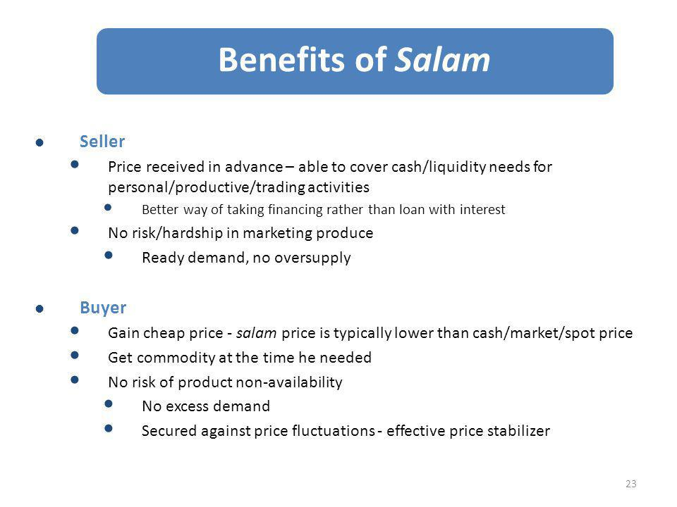 Benefits of Salam Seller Buyer