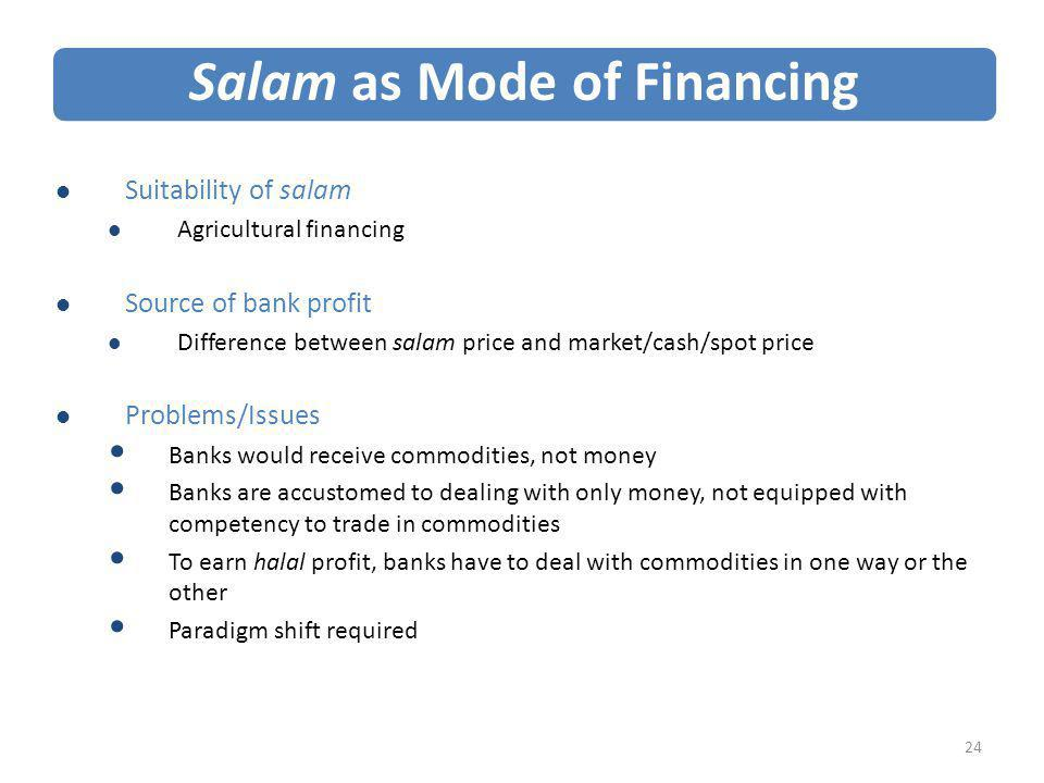 Salam as Mode of Financing