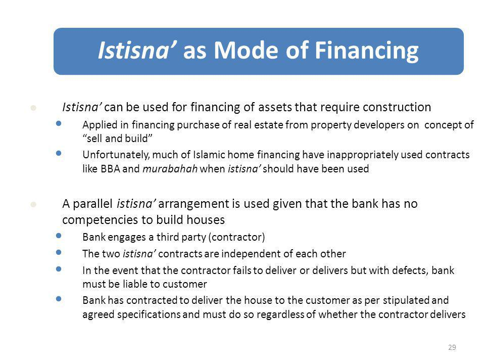 Istisna' as Mode of Financing