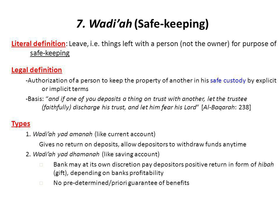 7. Wadi'ah (Safe-keeping)