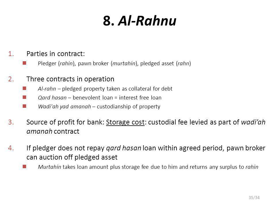8. Al-Rahnu Parties in contract: Three contracts in operation